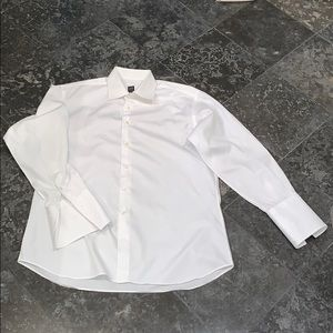 IKE Behar mens crisp white French cuff dress shirt